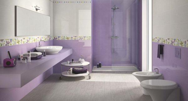 badezimmer fliesen lila blumen | farbe wände | pinterest | modern, Badezimmer