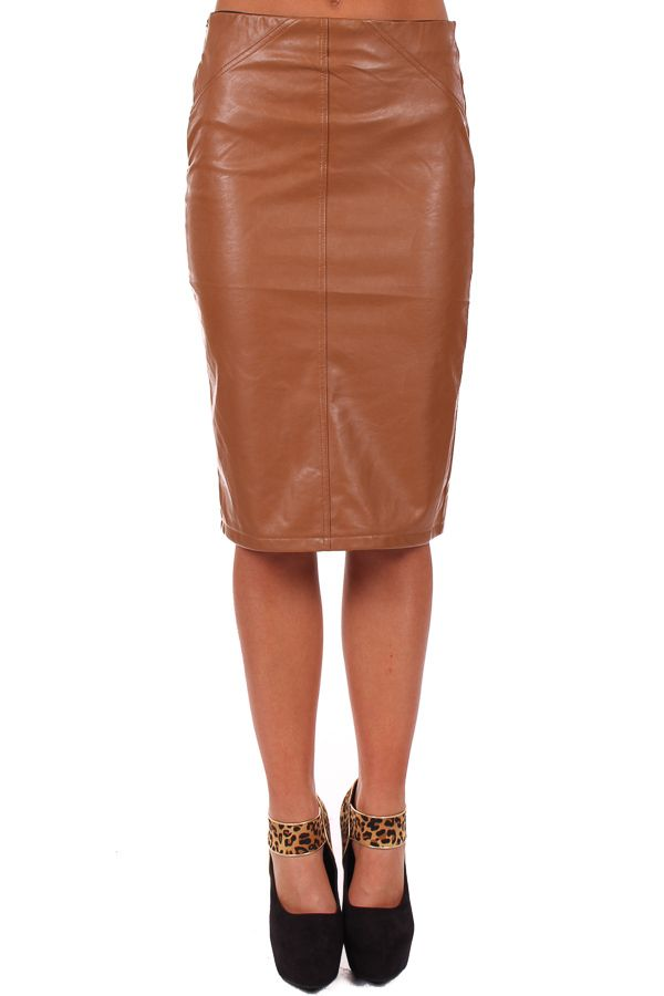 Faux Leather Pencil Skirt Camel | Jill Dress