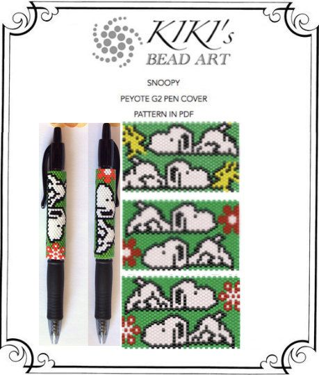 Peyote pen cover patterns Snoopy peyote patterns by KikisBeadArts