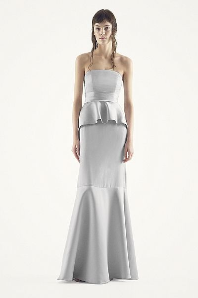 White by Vera Wang - MORE COLORS Satin and Matte Crepe Peplum Dress with Satin Sash Style VW360134 $188.00
