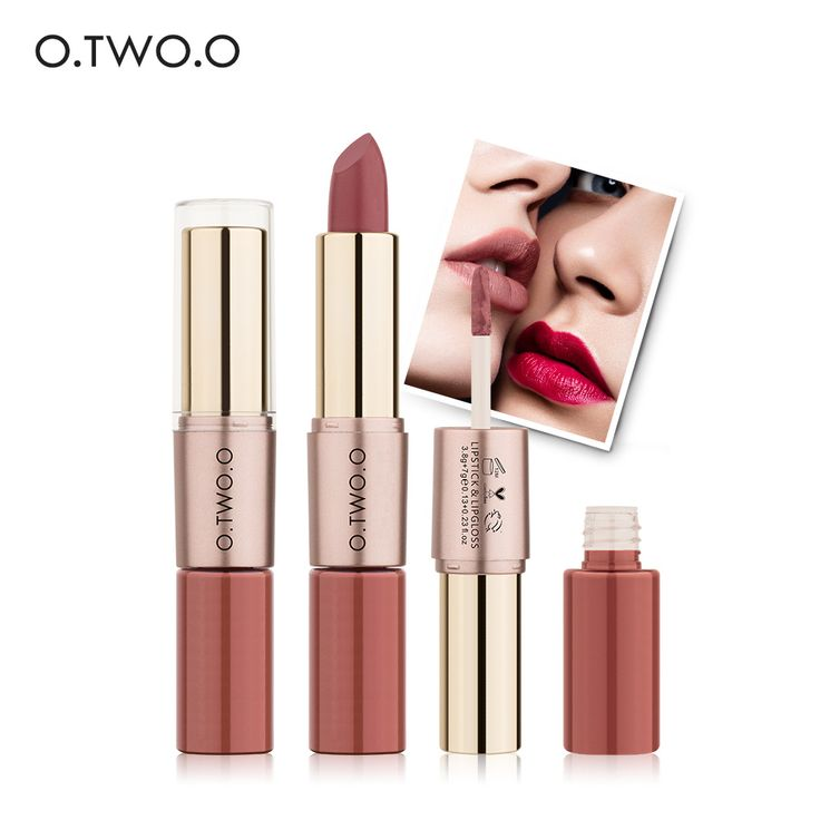 Only $1.74 , O.TWO.O 2 in 1 Matte Lipstick Lips Makeup Cosmetics Waterproof Pintalabios Batom Mate Lip Gloss Rouge 12colors can choose