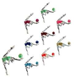 Metallic RG Ball Collector Pin by Pastorelli: Each of these metallic pins are precisely molded to capture the action of a tiny rhythmic gymnast performing with her RG ball at 3 to 3.5 centimeters.  The silver pins are hand-enameled and polished with a glittery finish in the following dazzling colors:  Dark Blue, Fluorescent Green, Fluorescent Pink, Fuchsia, Golden, Orange, Red, and Sky Blue! On Sale for $10.