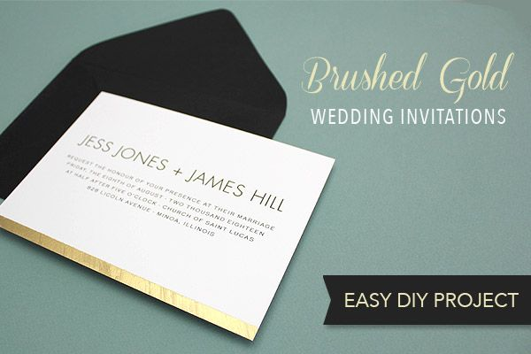 Golden Wedding Invitations Free: Free DIY Brushed Gold Wedding Invitation Template