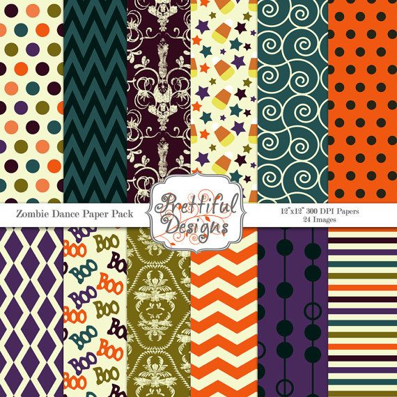 Halloween Digital Paper Pack  for Scrapbooking, Invitations, Card Making, Commercial Use  - Zombie Dance (365)
