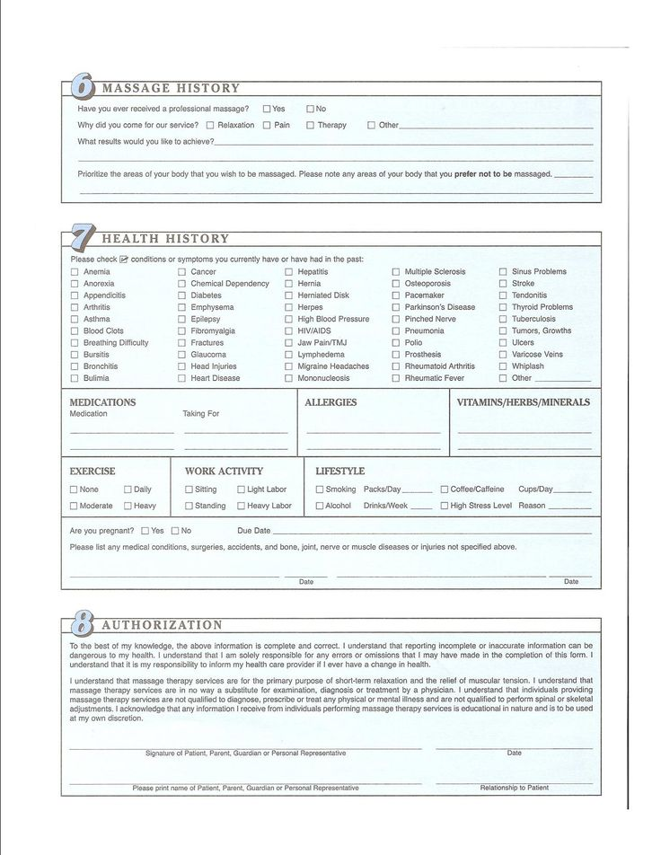 Client Intake Form Massage Therapy Template Choice Image - Template ...