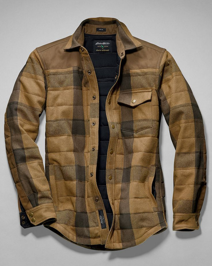 Men's Woodhacker Heavy Twill Shirt Jacket: Roughhewn heritage, easy-wearing lifestyle. Starting with the rugged cotton twill shell and waxed cotton/polyester canvas overlays at shoulders and forearms, this shirt jacket won't shrink from hard work. Inside, 60 grams of ThermaFill® insulation in the body and 40 grams in the sleeves provide chill-fighting comfort. Snap closures at center front, chest pocket, and cuffs.: