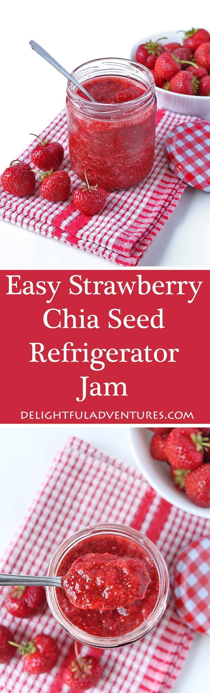 This easy strawberry chia seed refrigerator jam is the simplest jam you can make! There's no boiling involved and it only contains 4 simple ingredients. via @delighfuladv