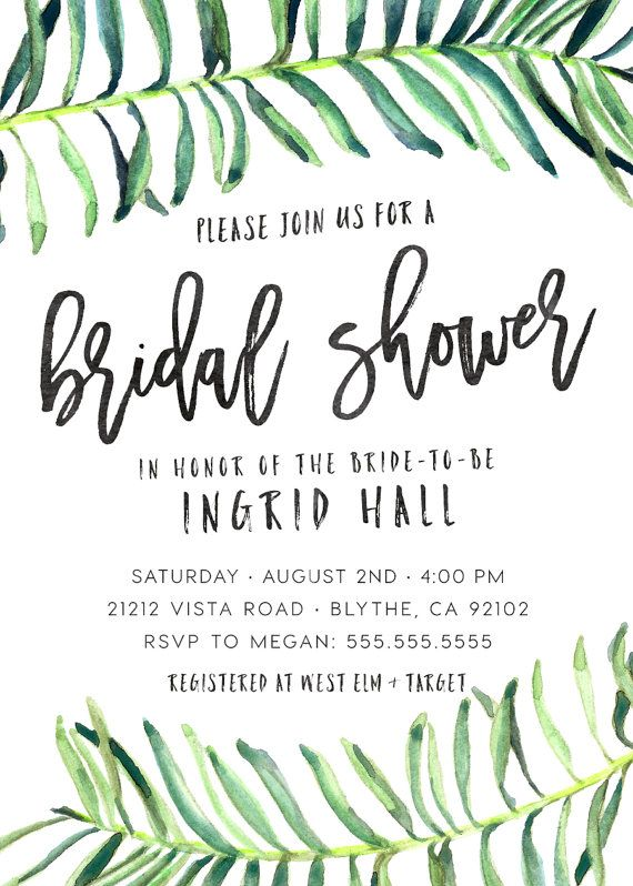 Celebrate the bride-to-be and her little one with this unique tropical bridal shower invitation, that is sure to set the theme of any party! Perfect for summer or destination weddings, watercolor tropical leaves, while modern, give a very 50s palm springs feel.  ♥ High-res 300 ppi, print-lab quality designs. ♥ Print at home to save money, or get it printed professionally. ♥ Can be customized for ANY event, and wording is 100% changeable. ♥ Rush service available, ready in 24 hours.  This…