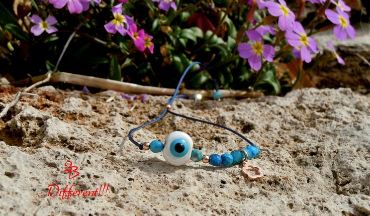 2B  ...Different!!!  Beautiful evil eye bracelet with soothing blue agate stones and pretty sterling silver flower rose gold!!