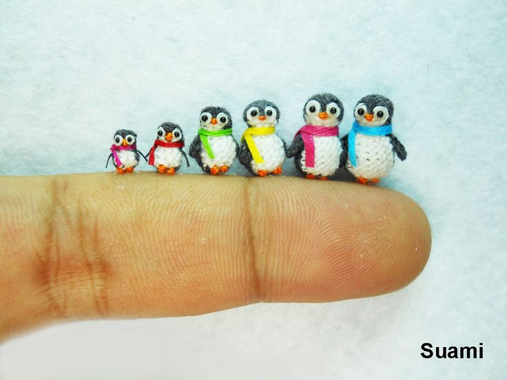Micro Penguin Family - Tiny Miniature Penguins - Set of Six Penguin Chicks - Made To Order. $200.00, via Etsy.