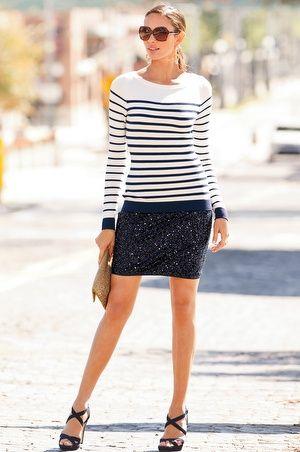 Nautical Stripe Sweater & Allover Sequin Skirt - by 'Boston Proper'