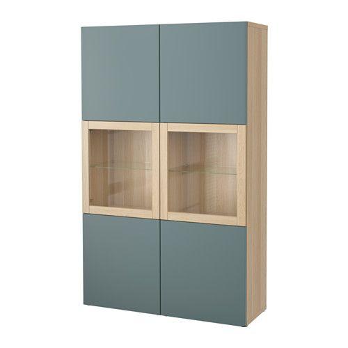 БЕСТО Комбинация д/хранения+стекл дверц - под беленый дуб/Вальвикен синий/серый, прозрачное стекло - IKEA