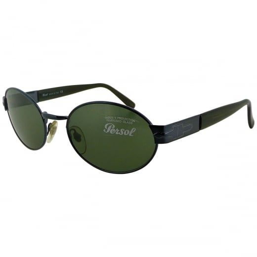 Persol Dark Blue Oval Metal Sunglasses With Green Crystal Lenses. Model Number: 2058-S 616 31. Oval blue metal eye frame with acetate arms - a classic, understated design with a timeless appeal.