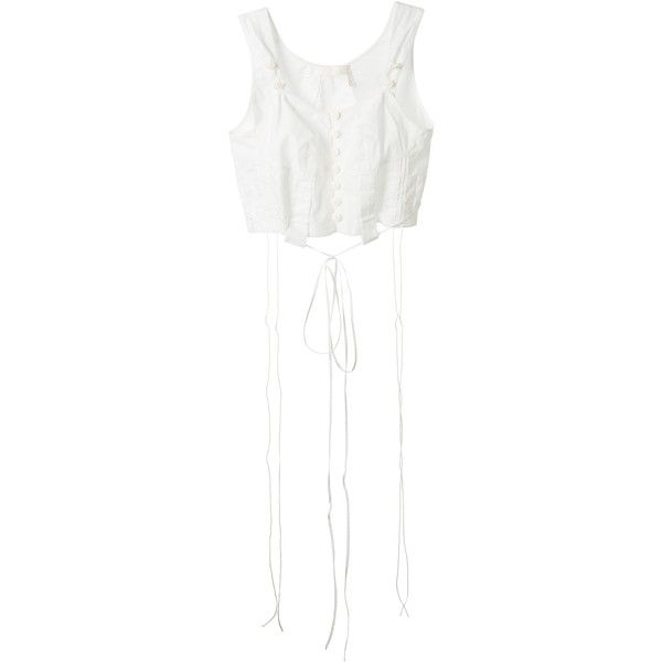 Chloé White Cotton Corset Top ($315) ❤ liked on Polyvore featuring tops, white cotton corset, spaghetti-strap tops, button front top, white corset top and corset tops