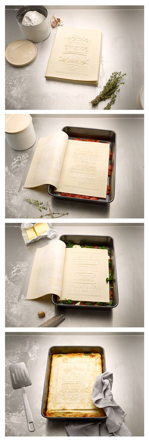 German design studio Korefe has created the 'The Real Cookbook,' an edible instruction manual for making a classic lasagna. Just read the pasta pages, bake, and bon appetit!