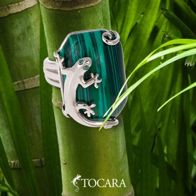Tocara ring | Stainless steel - Reconstituted Malachite