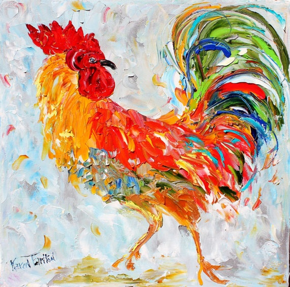 Original Rooster Barnyard Bird  PALETTE Knife painting by Karen Tarlton