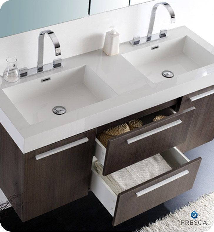 Fresca Fvn8013 Opulento 54 Wall Mounted Wood Double Vanity With Mirrored Medicine Cabinet Sinks107 Best Bathroom Images On Pinterest Bathroom Ideas Room And