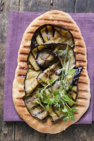 Grilled Eggplant Flatbread With Goat Cheese Vinaigrette: Grilled Eggplant Flatbread