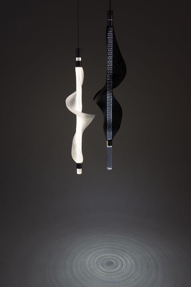 Vapour Light by Studio Thier&vanDaalen. A series of lighting elements as waving luminous vapour, which can vary in shape, colour and intensity.