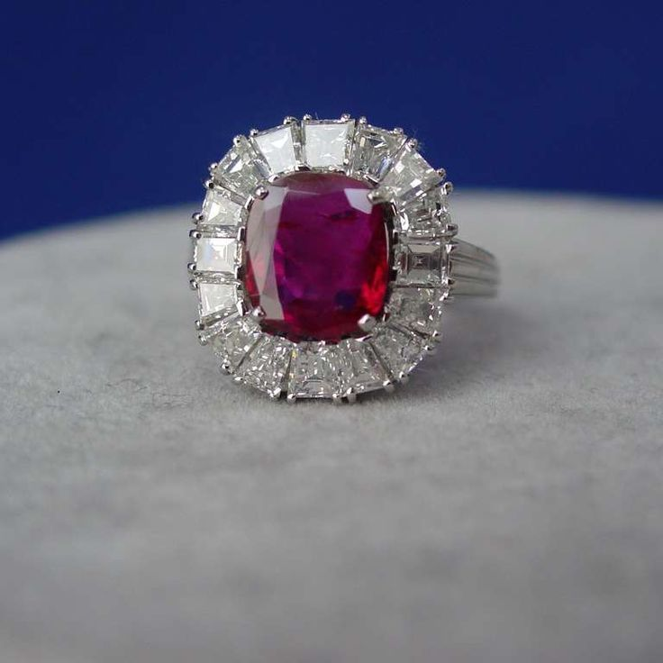 Burma Ruby, Diamond and Platinum Ring | From a unique collection of vintage more rings at https://www.1stdibs.com/jewelry/rings/more-rings/