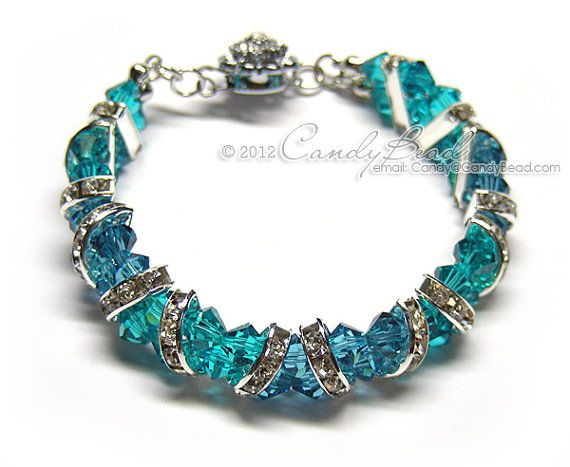 Gorgeous Silver Teal Crystal Cuff Bracelet made with 6mm Swarovski crystals and silver-plated rhinestone rondelle beads. Its suitable for your wonderful day.  Length is 7.5 inches and 14mm width with silver toggle clasp.  And it is carefully shipped in a beautiful organza pouch with drawstring, bubble wrapped and well protected.  If you like this bracelet in another color/size please contact me. Custom made are welcome.  I have many items for the Best Beautiful Handmade Beadworks. Please...