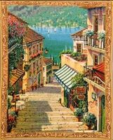 Bellagio Village Mini Belgian Wall Tapestry W-3930, 10-29Inchestall, 10-29Incheswide, 20W, 26H, Belgian, Bellagio, Blue, Border, Gold, Green, Mini, Tapestry, Vertical, Village, Wall, Yellow, Belgianwoven, Europeanwoven, tapestries, tapestrys, hangings, and, the