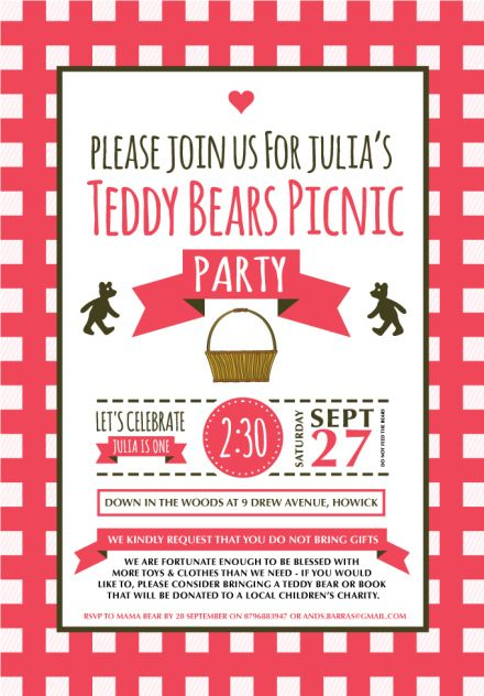 73 best Teddy Bear Picnic Party images on Pinterest Teddy bears - birthday invitation wording no gifts donation