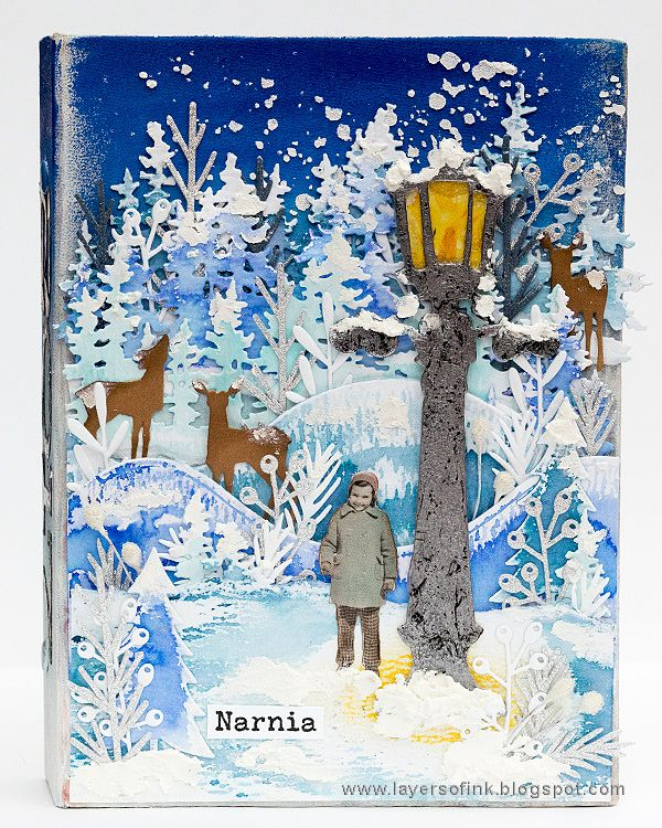 Layers of ink - Narnia December Daily Journal by Anna-Karin Evaldsson. Made with Sizzix dies by Tim Holtz and Ranger inks and paints.