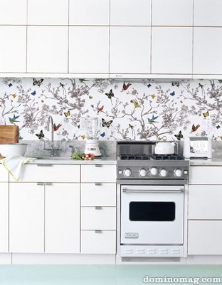wallpaper in a kitchen...so much cheaper and less permenant