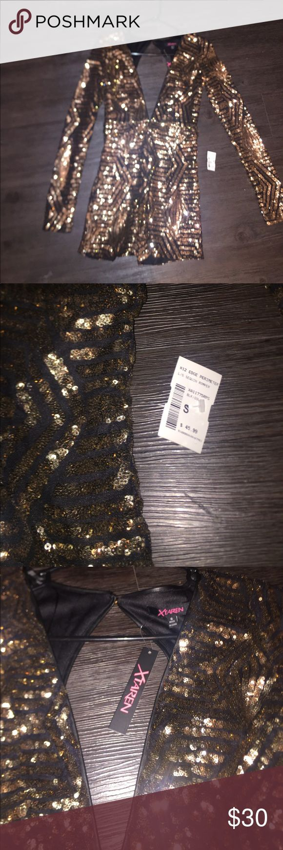 Sequin Romper Black and gold sequin shorts romper. Low cut V in front and back cut out Pants Jumpsuits & Rompers