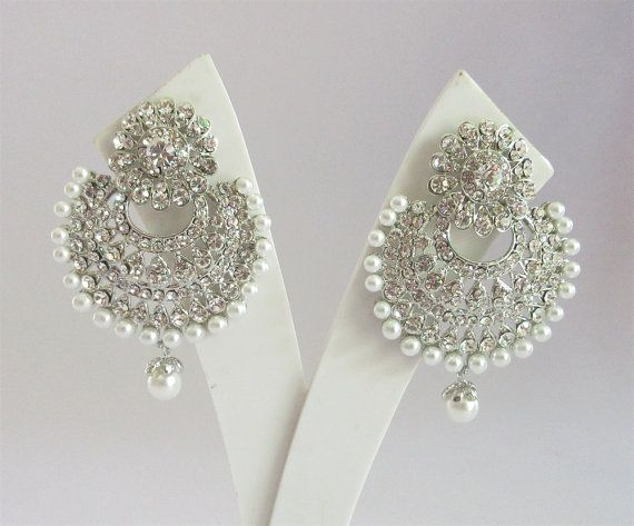 Wedding Silver Chand Bali Earrings with by Beauteshoppe on Etsy