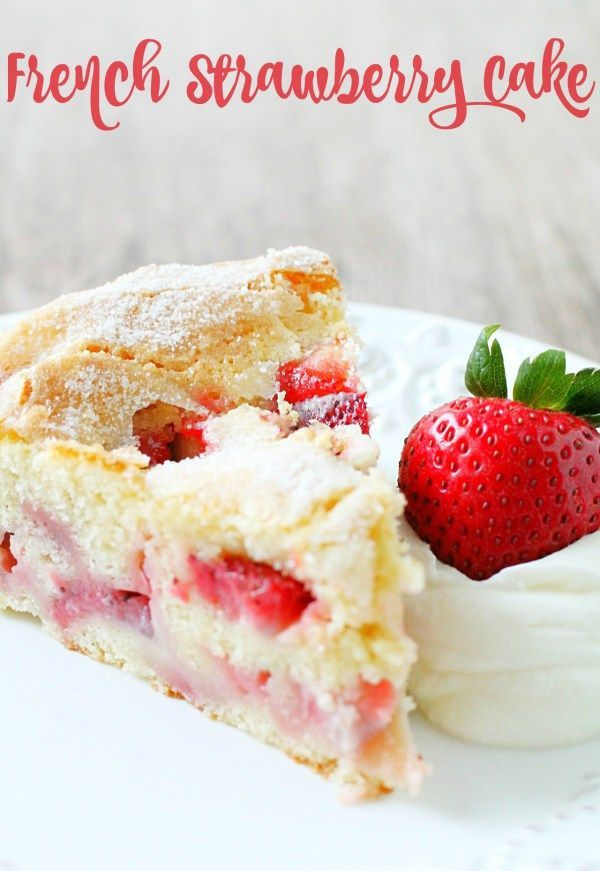 This French Strawberry Cake will be your new favorite summertime treat. Reminiscent of a classic french apple cake it has a crumb that is sweet and custardy with a top that bakes up light and crumbly. This cake is the perfect way to show off those freshly picked strawberries!!