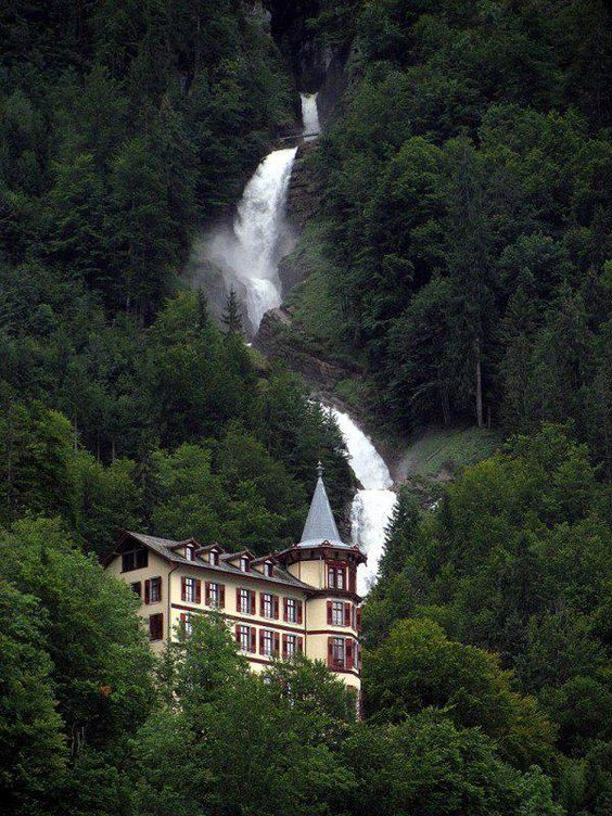 At the Giessbach Falls in Switzerland.