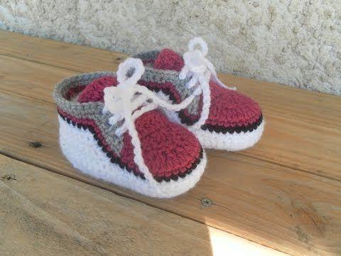 Baskets bébé partie 1 / Zapatitos bebe a crochet parte 1 - YouTube