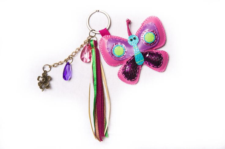 Super cute butterfly keyring, great  way to make your little ones school bag stand out from the crowd see this and other fun designs at www.kalisa.com.au