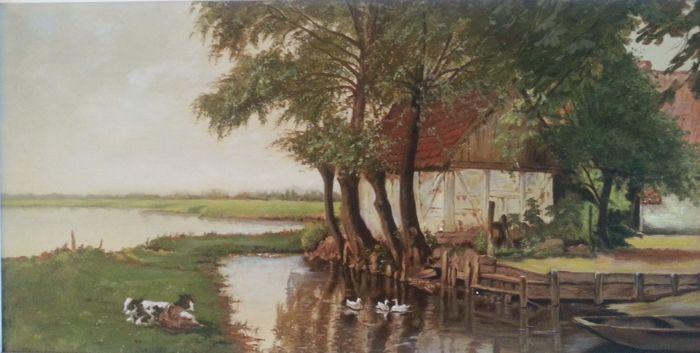"""M.J. Feenstra( 20e eeuws) - Hollands landschap met koeien en eenden.  Zeer fraai groot typisch Hollands landschap met koeien en eenden olieverf op doek in een fraai bijpassende zware barok lijst.Het werk verkeert in een fraaie originele staat zoals afgebeeld in de foto""""s. De authentieke barok lijst heeft een kleine ouderdoms sporen zoals afgebeeld in de foto's ..Het werk is voluit gesigneerd aan de rechter onderzijde door M.J. Feenstra en is ca. 50 - 60 jaar oud.Maat zonder lijst : 40 x 80…"""
