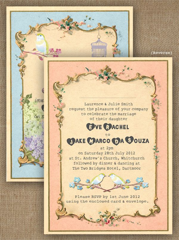 Pastel Pretty Wedding Invitation Reverse Vintage Style with Bird, Bird Cage and Chrysanthemum by In the Treehouse