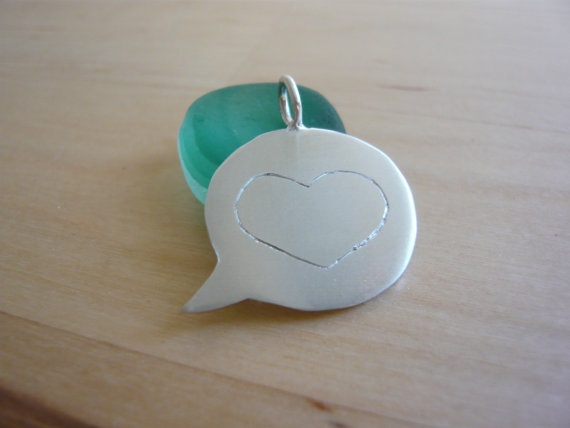 Silver Speech Bubble Necklace  Heart by TaliaJewelry on Etsy: Speech Bubbles, Bubbles Necklaces, Bubble Necklaces, Necklaces Heart