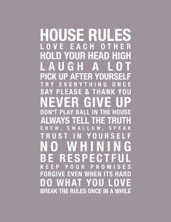 8x10 Print House Rules In this house we do by pixelcloud on Etsy, $17.00