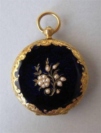 Gold, enamel, pearls  savonette pocket watch, second half of XIX, Switzerland
