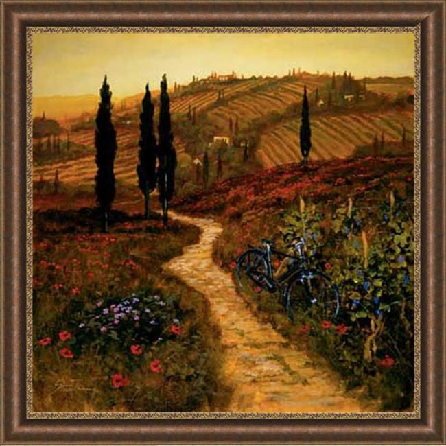 Add drama to your space with this traditional framed art print, featuring a lovely landscape and meandering lane. A burnished gold frame is home to the serene and peaceful composition created by Artist Thoms. It will be lovely in any home environment.