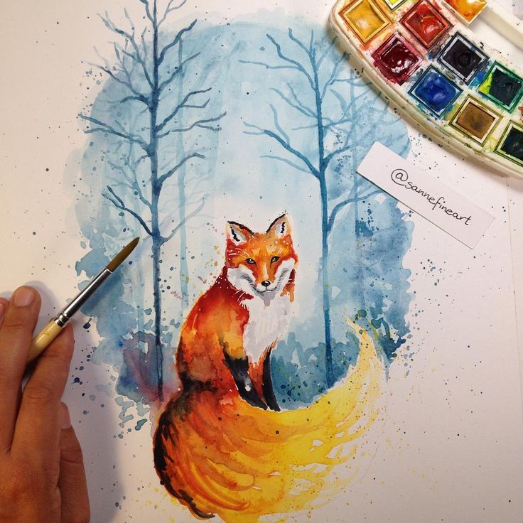 Watercolor fox. Result of my very first speed drawing project.This was so much fun!