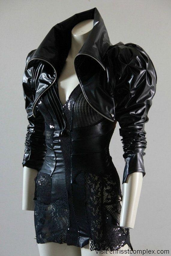 Bolero Jacket leather look Steampunk Black Cropped. Sexy ...