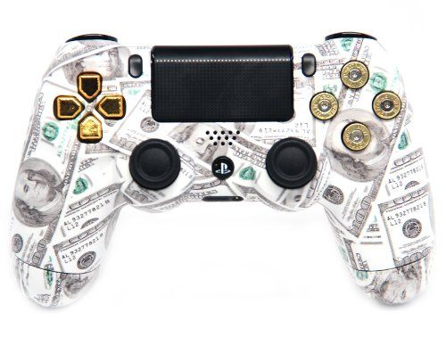 """This is our """"Gold Money Talks Bullet Buttons"""" PlayStation 4 Modded Controller. It is a perfect gift for a special gamer in your life. Order yours today at: http://moddedzone.com/ You can also visit our eBay store at: http://stores.ebay.com/moddedzone/"""