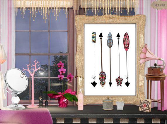 Arrow wall art print. Digital poster. Printable art. Tribal drawing. Hand drawn. Printable nursery decor.