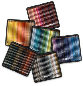 Prismacolor Colored Pencil Sets // Complete Set of 150 —  This set of 150 Prismacolor Premier Colored Pencils is encased in a durable, fold-top black cardboard box with magnetic closure and contains 18 new colors, including Deco Yellow, Deco Peach, Deco Pink, Permanent Red, Indanthrone Blue, Cadmium Orange, Prussian Green, Gray Green, Sap Green, Cobalt Turquoise, Cerulean Blue, Cobalt Blue, Eggshell, Pomegranate, Dioxazine Purple, Neon Yellow, Neon Orange, and Neon Pink.