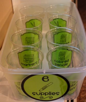 Organize Community Supply Bins with plastic cups