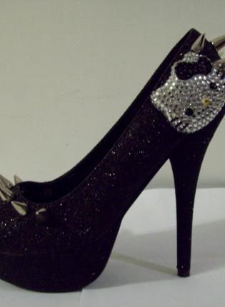 HELLO KITTY HEELS (Spiked Kitty- Black),  Shoes, Hello Kitty Spikes Black Glitter, Chic