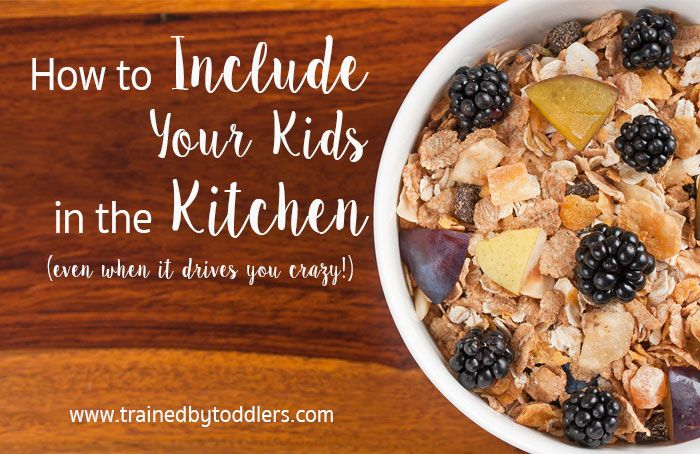 How to Include Your Kids in the Kitchen (even when it drives you crazy!)  An impatient, micromanaging, hot-headed temper doesn't mix well with kids, right? So when my daughter got old enough to help mommy in the kitchen, it only sounded like the worst thing that I could do. I have zero patience for the messes, spills, and learning that comes with letting kids help in the kitchen.  READ MORE: www.trainedbytoddlers.com/how-to-include-your-kids-in-the-kitchen
